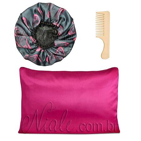Kit Touca Duplo Cetim Estamp+ Fronha Pink +Pente Madeira
