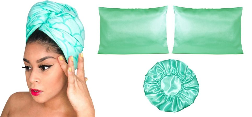 Kit Toalha + 2 fronhas + touca Duplo cetim - Verde Água