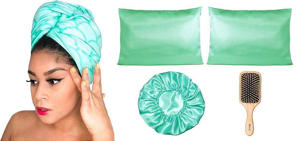 Kit Toalha Antifrizz + Kit De Cetim Verde Água + Escova grande