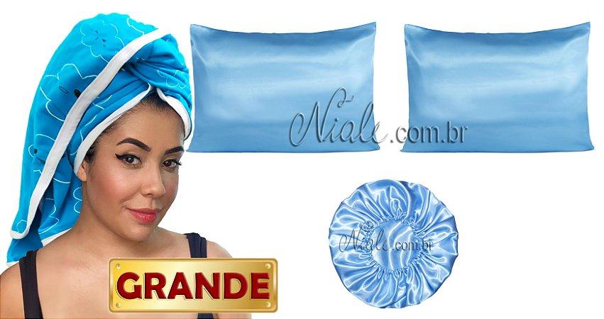 Kit Toalha Estampada Nuvem Macia  + fronhas + touca Duplo Cetim - Azul Bebe