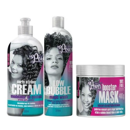 Kit Soul Power Low Bubble, Curly Styling Cream e Booster Mask