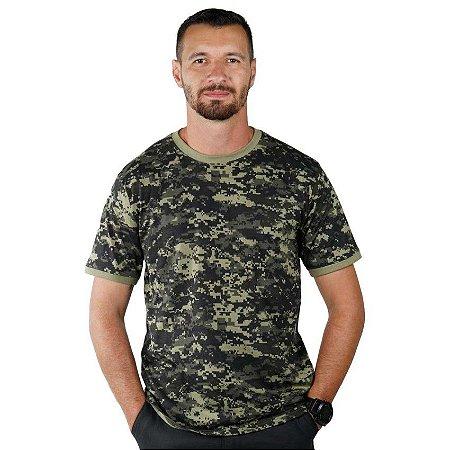 Camiseta Masculina Soldier Bélica Camuflada Digital Pântano