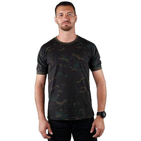 Camiseta Masculina Soldier Bélica Camuflada Multicam Black