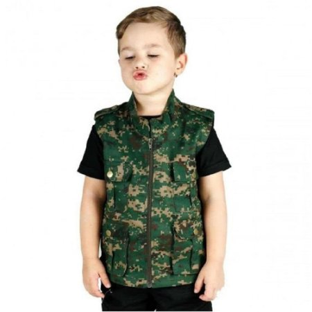 Colete Infantil Army Camuflado Treme Terra - Verde Digital