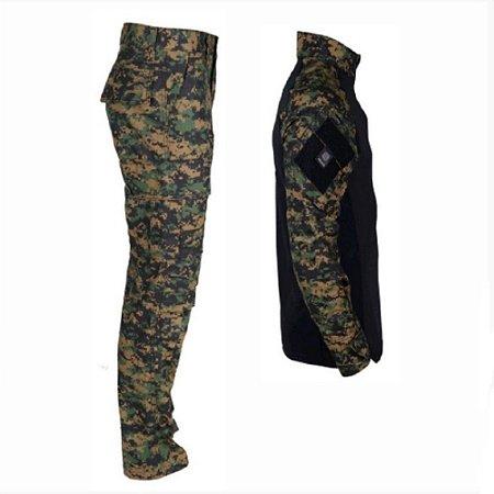 Farda Tática Bélica - Calça e Combat Shirt Camuflada Marpat