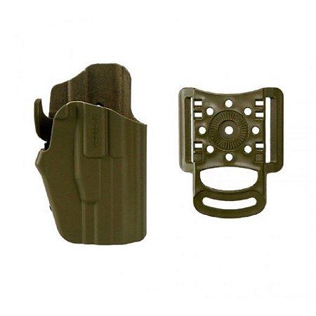 Coldre Evolution I Em Polímero C/ Adaptador de Cintura Destro - Verde