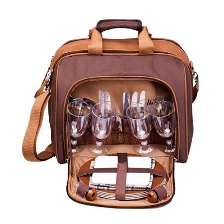 Bolsa Térmica Com Kit Picnic 17L P/ 4 Pessoas Guepardo