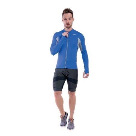 Blusa de Ciclismo C/ Manga Longa Challenge Masculina Sol Sports - Azul Royal