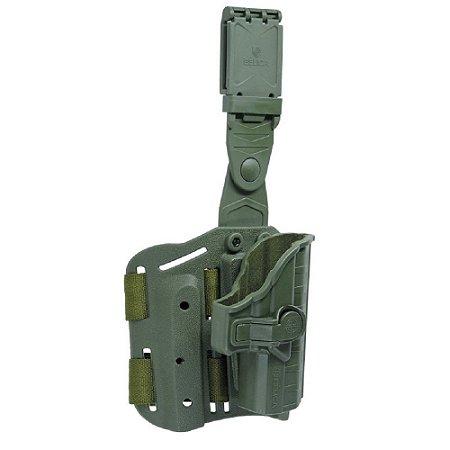 Coldre Beretta II Em Polímero Bélica Canhoto P/ Coxa - Verde