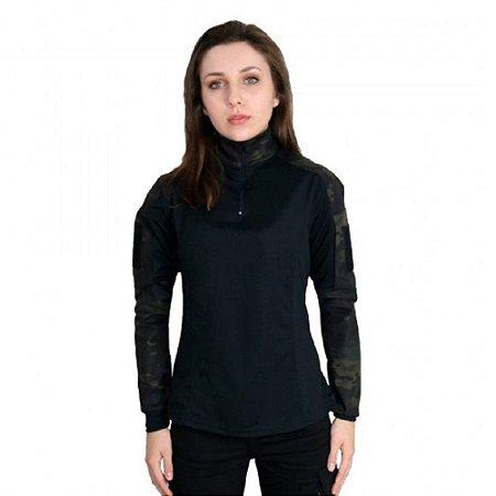 Combat Shirt Feminina Camuflada Bélica - Multicam Black