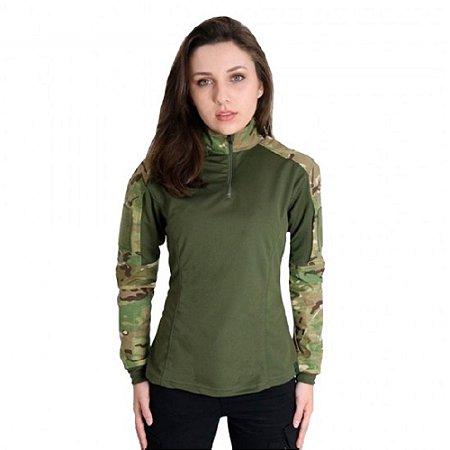 Combat Shirt Feminina Camuflada Bélica - Multicam