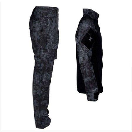 Farda Tática Bélica - Calça e Combat Shirt Camuflada Kryptek Typhon
