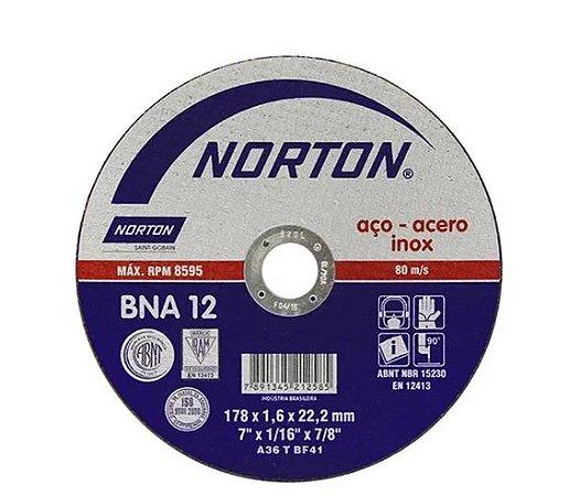 Disco de Corte Inox Norton 7' X 1/16