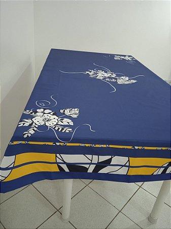 Toalha de Mesa Lara  (Azul Ibisco) - Linho