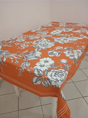 Toalha de Mesa Rose (Floral laranja) - Tecido com Impermeabilidade