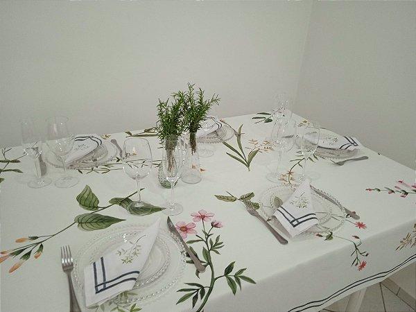 Toalha de Mesa Angela (Galhos e Flores fundo branco) - Linho
