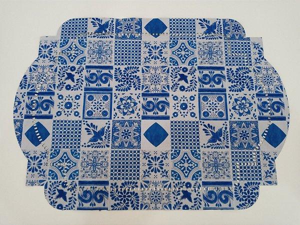 Jogo Americano Dublado Estampado azul azulejo