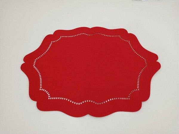 Jogo Americano Dublado Oval Liso Vermelho