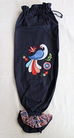 Puxa-saco bordado Pavão Azul Marinho