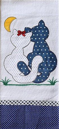 Pano de prato bordado Animais - casal gatos (cod.44)