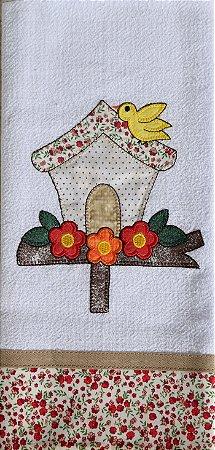 Pano de Prato em Patchwork - Casa pássaro (cod.91)