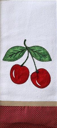 Pano de Prato em Patchwork Frutas - Cereja