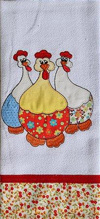 Pano de Prato em Patchwork Animais - Três galinhas (cod.60)