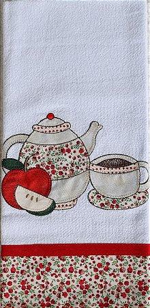 Pano de Prato em Patchwork - Bule e Café (cod.88)