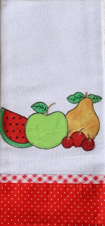 Pano de Prato em Patchwork - Quatro frutas (cod.11)