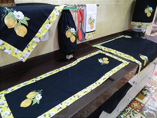 Jogo de cozinha 8 peças – cor preta Limão Siciliano