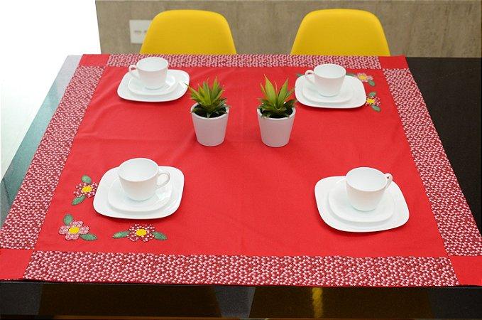 Toalha Gourmet 1,0mx1,0m Escanteada - Cor: Vermelha-  Areia - 3 Margaridas (BLACK FRIDAY)