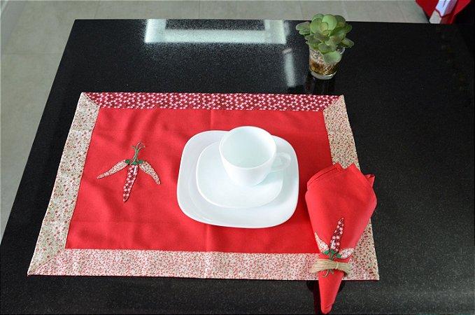 Toalha 58cmx58cm - Cor: Vermelha - Bordado: Pimenta