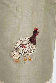 Toalha 58cmx58cm - Cor: Caqui - Bordado: galinha da angola