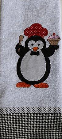 Pano de Prato em Patchwork Animais - Pinguim macho (cod.20)