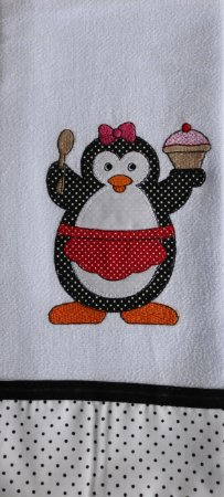 Pano de Prato em Patchwork Animais - Pinguim fêmea (cod.21)