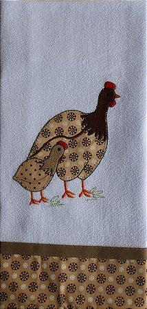 Pano de Prato em Patchwork Animais - galinha da Angola (cod.24)