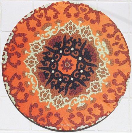 Capa de Sousplat em tecido poliéster  Sublimado - mandala marrom (cod.03)