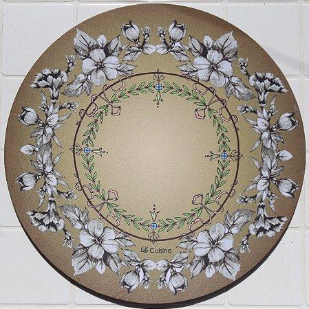 Capa de Sousplat em tecido poliéster  Sublimado - Mandala bege com flores (cod.09)