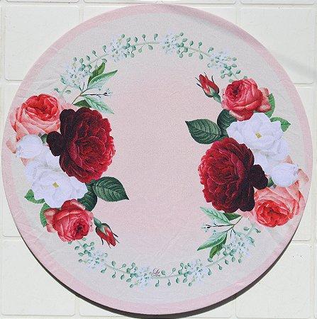 Capa de Sousplat em tecido poliéster  Sublimado - Rosas rosas (cod.056)