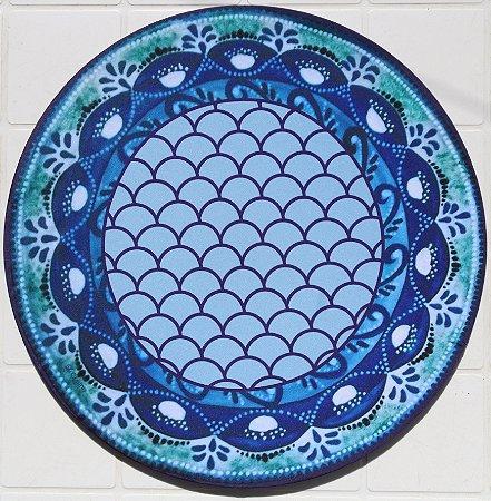 Capa de Sousplat em tecido poliéster Sublimado - pétalas azuis (cod.22)