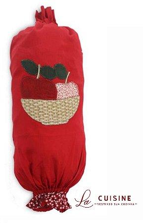Puxa-saco bordado Maçã em Brim