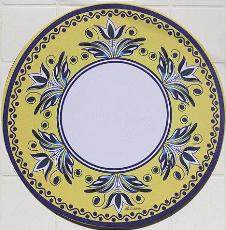 Capa de Sousplat em tecido poliéster  Sublimado - Mandala Amarelo e azul (cod.13)