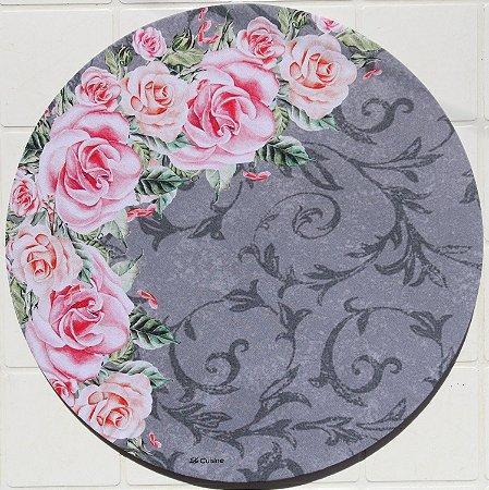 Capa de Sousplat em tecido poliéster  Sublimado - Rosas escanteadas (cod.36)