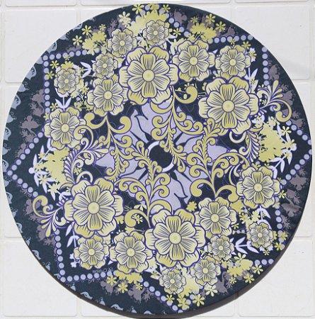 Capa de Sousplat em tecido poliéster  Sublimado - Floral Português (cod.04)