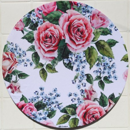 Capa de Sousplat em tecido Sublimado - Rosas (cod.37)