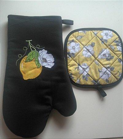 Luva térmica com pegador (kit) - cor: preto - Bordado Limão Siciliano