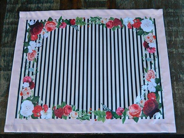 Jogo  Americano 4 peças - Rosas listas pretas (cod.056)