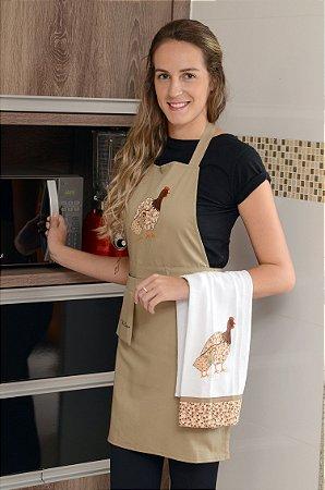 Avental feminino com pano de prato