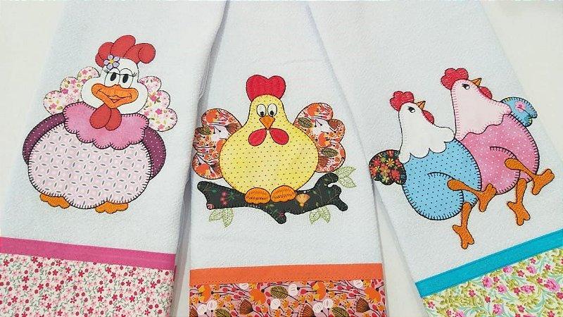 PANOS DE PRATO Bordados - KIT com 03 unidades- galinhas