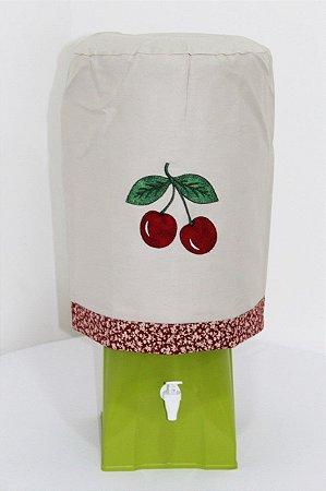 Capa de Galão de Água 20 litros - Cor: Areis - bordado: Cerejas